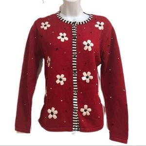 Talbots Women's Red cardigan size small